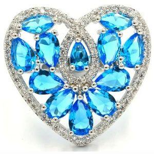 Cute Swiss blue topaz silver filled ring